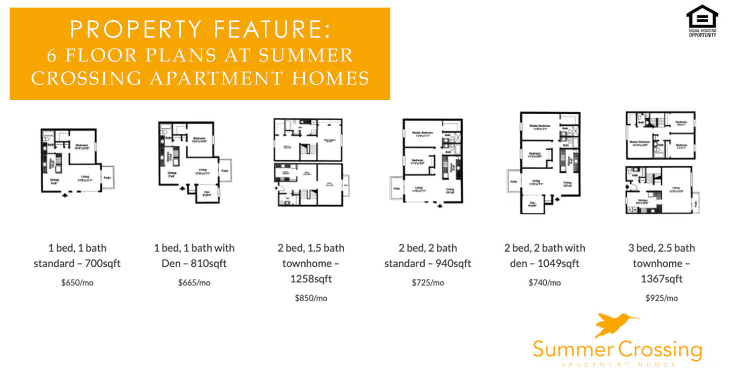 Floor Plans at Summer Crossing Apartment Homes